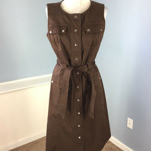 Calvin klein M 8 Brown Sheath Shirt dress Belt